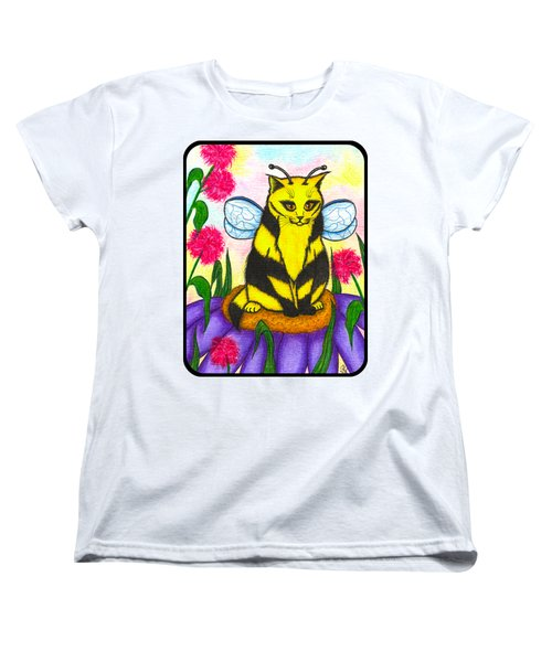 Women's T-Shirt (Standard Cut) featuring the painting Buzz Bumble Bee Fairy Cat by Carrie Hawks