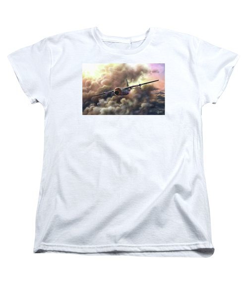 Women's T-Shirt (Standard Cut) featuring the painting C-130 Hercules by Dave Luebbert
