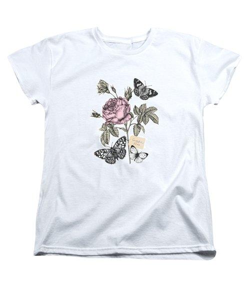 Cabbage Rose Women's T-Shirt (Standard Cut) by Stephanie Davies