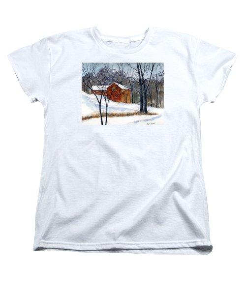 Cabin In The Woods Women's T-Shirt (Standard Cut) by Debbie Lewis