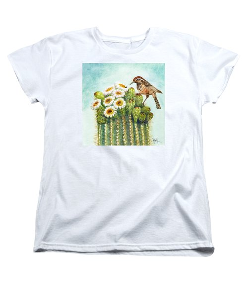 Women's T-Shirt (Standard Cut) featuring the painting Cactus Wren And Saguaro by Marilyn Smith