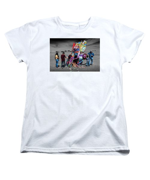 Women's T-Shirt (Standard Cut) featuring the photograph Cadillac Ranch Spray Paint Fun Along Historic Route 66 By Amarillo Texas by Randall Nyhof