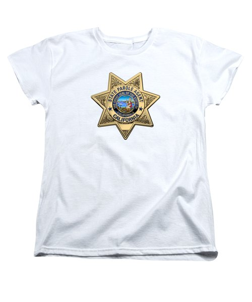California State Parole Agent Badge Over White Leather Women's T-Shirt (Standard Cut) by Serge Averbukh