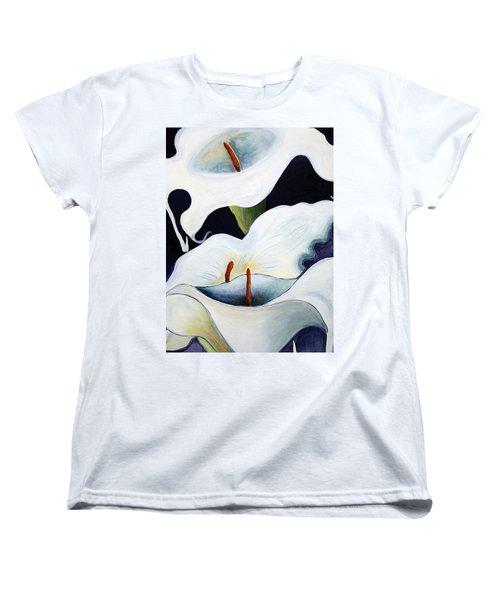 Women's T-Shirt (Standard Cut) featuring the painting Calla Lilies.. by Jolanta Anna Karolska