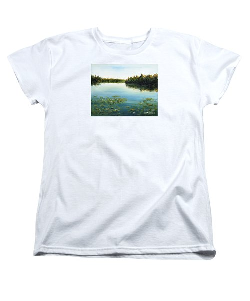 Women's T-Shirt (Standard Cut) featuring the painting Calm by Arturas Slapsys