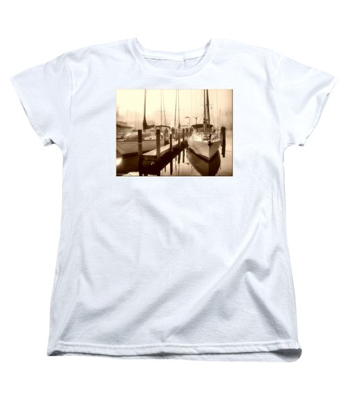 Women's T-Shirt (Standard Cut) featuring the photograph Calmly Docked by Brian Wallace