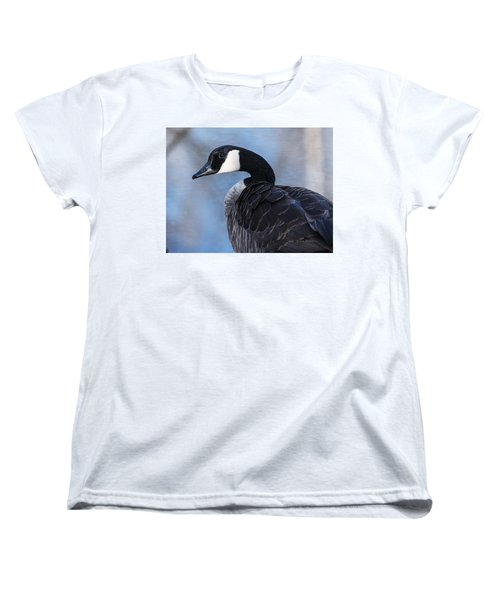Women's T-Shirt (Standard Cut) featuring the photograph Canada Goose Preening 3 by Edward Peterson