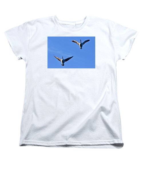 Women's T-Shirt (Standard Cut) featuring the photograph Canadian Geese 1644 by Michael Peychich