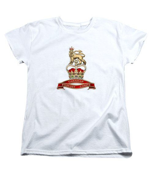 Canadian Provost Corps - C Pro C Badge Over White Leather Women's T-Shirt (Standard Cut) by Serge Averbukh