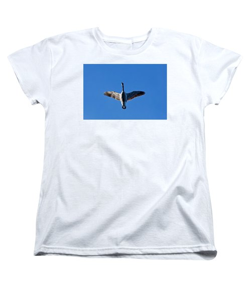 Women's T-Shirt (Standard Cut) featuring the photograph Candian Goose In Flight 1648 by Michael Peychich