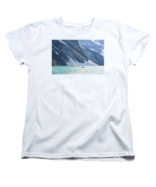 Canoeing On Lake Louise Women's T-Shirt (Standard Cut) by Keith Boone