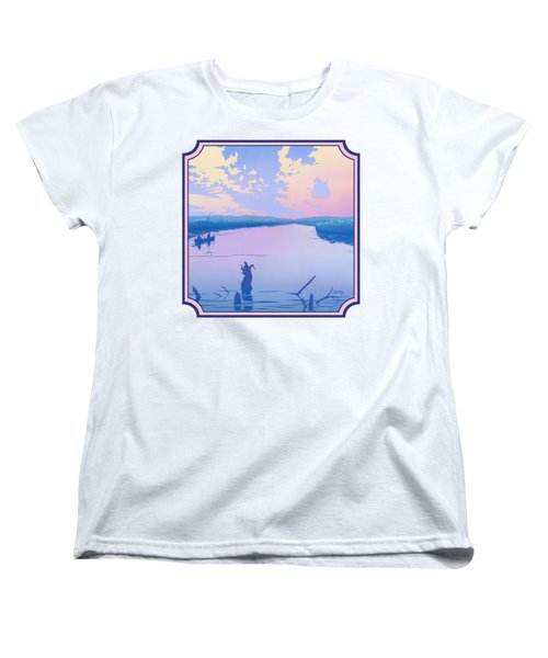 Canoeing The River Back To Camp At Sunset Landscape Abstract - Square Format Women's T-Shirt (Standard Fit)