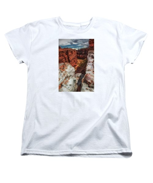Canyon Lands Quartz Falls Overlook Women's T-Shirt (Standard Cut) by Gary Warnimont
