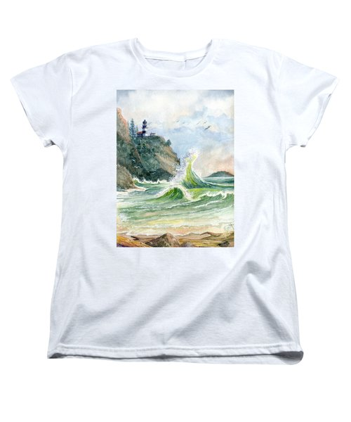 Women's T-Shirt (Standard Cut) featuring the painting Cape Disappointment Lighthouse by Marilyn Smith