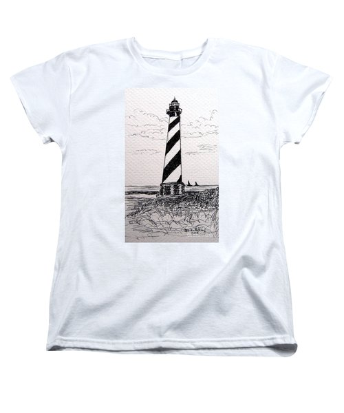 Women's T-Shirt (Standard Cut) featuring the drawing Cape Hatteras Lighthouse Nc by Julie Brugh Riffey