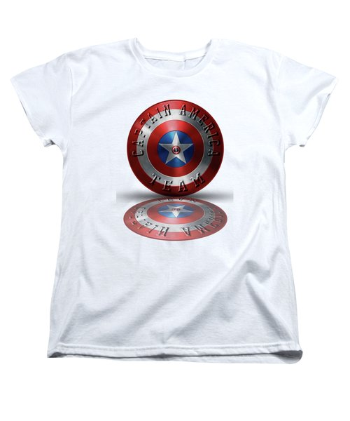 Captain America Team Typography On Captain America Shield  Women's T-Shirt (Standard Cut) by Georgeta Blanaru