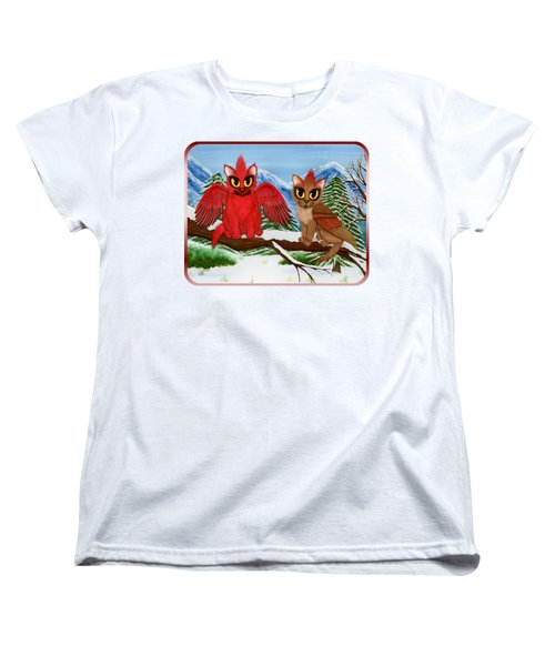 Women's T-Shirt (Standard Cut) featuring the painting Cardinal Cats by Carrie Hawks