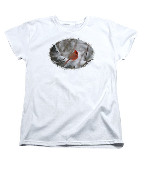 Cardinal On Snowy Branch Women's T-Shirt (Standard Cut) by Larry Bishop