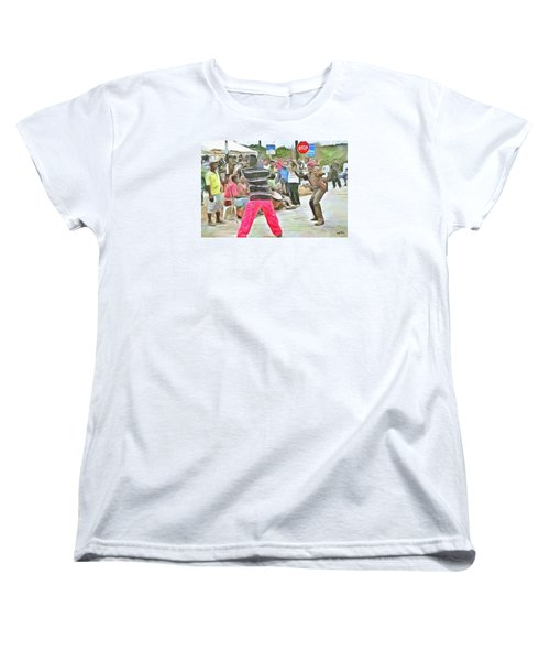 Women's T-Shirt (Standard Cut) featuring the painting Caribbean Scenes - De Stick Fight by Wayne Pascall