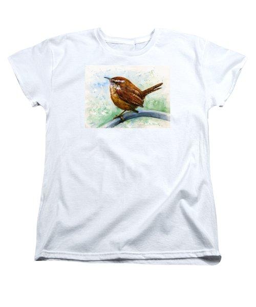 Carolina Wren Large Women's T-Shirt (Standard Cut) by John D Benson
