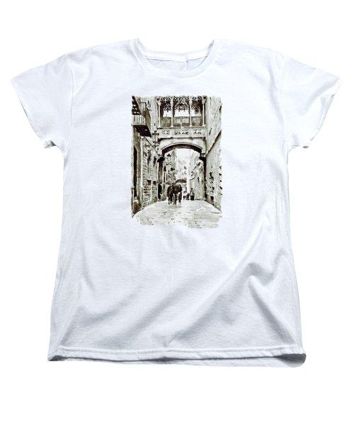 Carrer Del Bisbe - Barcelona Black And White Women's T-Shirt (Standard Cut)