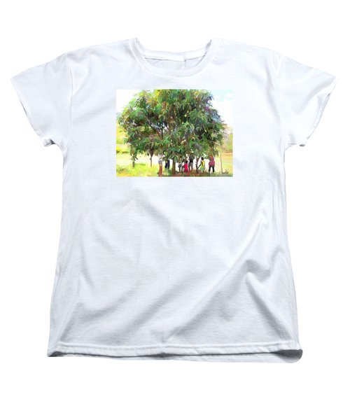 Carribean Scenes - Under De Mango Tree Women's T-Shirt (Standard Cut) by Wayne Pascall