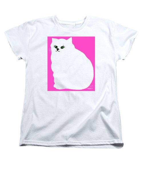 Cartoon Plump White Cat On Pink Women's T-Shirt (Standard Cut) by Marian Cates