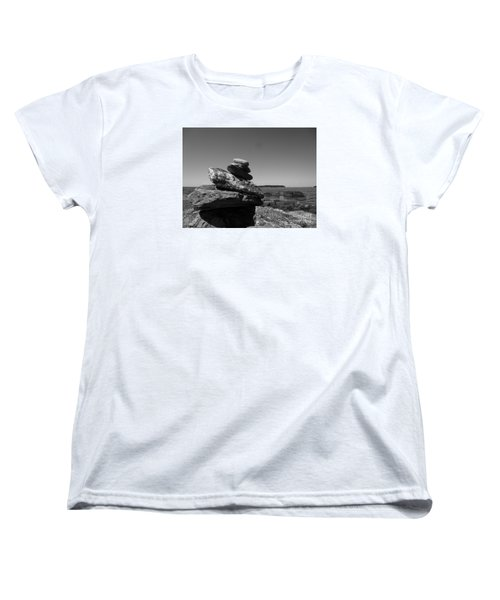 Casco Bay Cairn Bw Women's T-Shirt (Standard Cut) by Barbara Bardzik