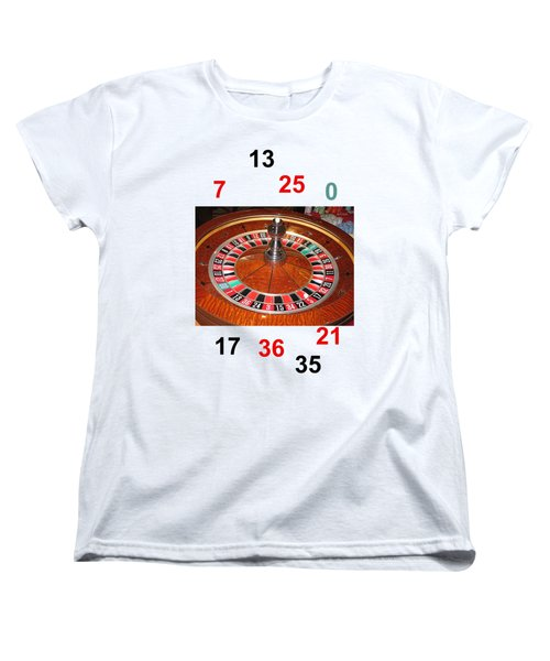 Casino Roulette Wheel Lucky Numbers Women's T-Shirt (Standard Cut) by Tom Conway