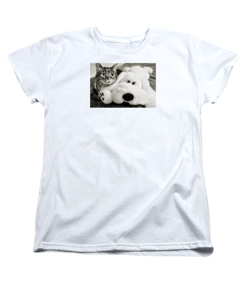 Cat And Dog In B W Women's T-Shirt (Standard Cut) by Andee Design