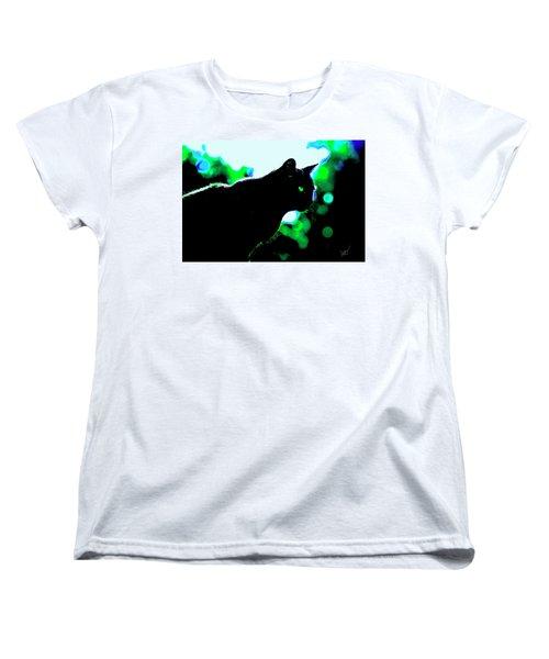 Cat Bathed In Green Light Women's T-Shirt (Standard Cut) by Gina O'Brien