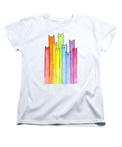 Cat Rainbow Watercolor Pattern Women's T-Shirt (Standard Fit)