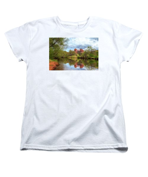 Women's T-Shirt (Standard Cut) featuring the photograph Cathedral Rock Reflection by James Eddy