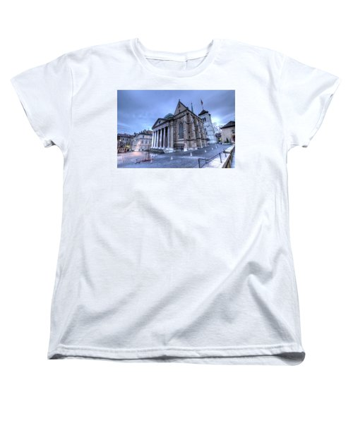 Cathedral Saint-pierre, Peter, In The Old City, Geneva, Switzerland, Hdr Women's T-Shirt (Standard Cut) by Elenarts - Elena Duvernay photo