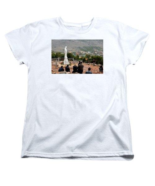 Catholic Pilgrim Worshipers Pray To Virgin Mary Medjugorje Bosnia Herzegovina Women's T-Shirt (Standard Cut) by Imran Ahmed