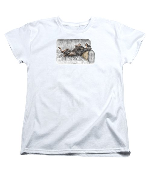Women's T-Shirt (Standard Cut) featuring the drawing Caution Guard Dog - Doberman Pinscher Print Color Tinted by Kelli Swan