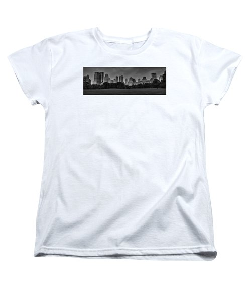 Women's T-Shirt (Standard Cut) featuring the photograph Central Park Skyline Pano 001 Bw by Lance Vaughn