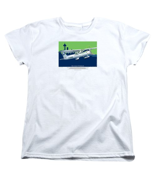 Women's T-Shirt (Standard Cut) featuring the drawing Cessna Skyhawk 172 by Kenneth De Tore