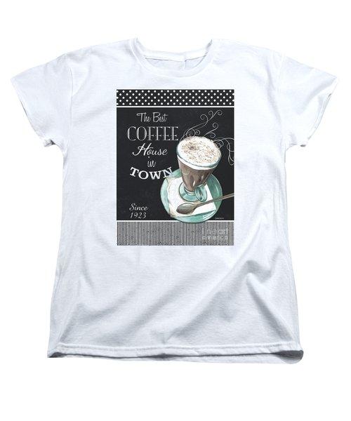 Women's T-Shirt (Standard Cut) featuring the painting Chalkboard Retro Coffee Shop 2 by Debbie DeWitt