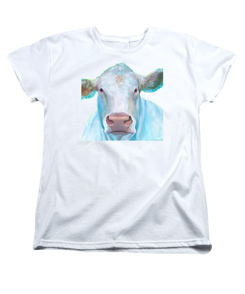 Charolais Cow Painting On White Background Women's T-Shirt (Standard Cut) by Jan Matson