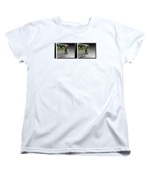 Women's T-Shirt (Standard Cut) featuring the photograph Chasing Bubbles - Gently Cross Your Eyes And Focus On The Middle Image by Brian Wallace