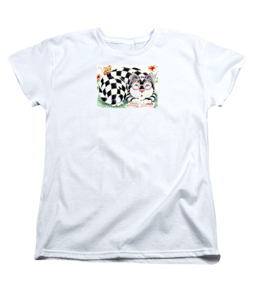 Women's T-Shirt (Standard Cut) featuring the drawing Checkers by Dee Davis