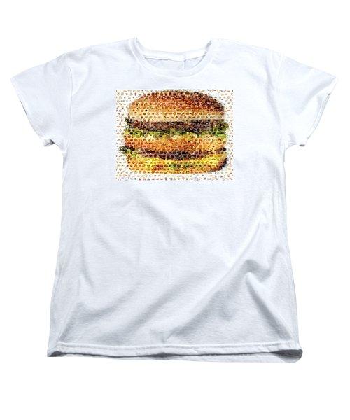 Women's T-Shirt (Standard Cut) featuring the mixed media Cheeseburger Fast Food Mosaic by Paul Van Scott