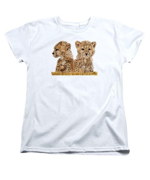 Cheetah Cubs Women's T-Shirt (Standard Cut) by Angeles M Pomata