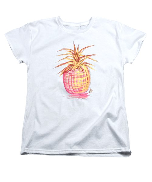 Chic Pink Metallic Gold Pineapple Fruit Wall Art Aroon Melane 2015 Collection By Madart Women's T-Shirt (Standard Cut) by Megan Duncanson