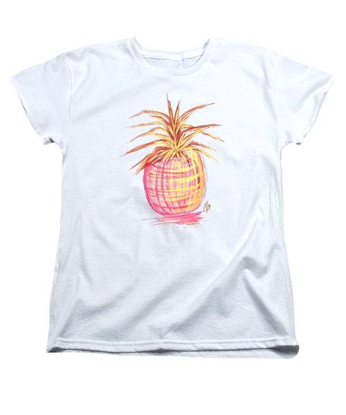 Chic Pink Metallic Gold Pineapple Fruit Wall Art Aroon Melane 2015 Collection By Madart Women's T-Shirt (Standard Cut)
