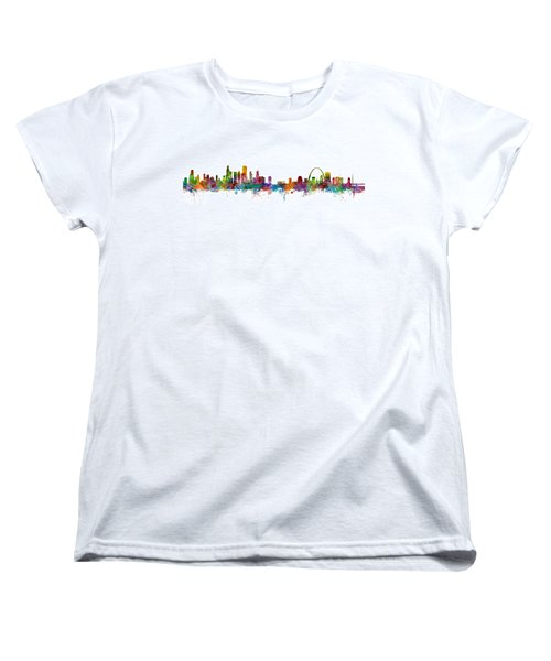 Chicago And St Louis Skyline Mashup Women's T-Shirt (Standard Cut) by Michael Tompsett