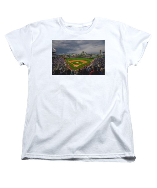 Chicago Cubs Wrigley Field 4 8213 Women's T-Shirt (Standard Cut) by David Haskett