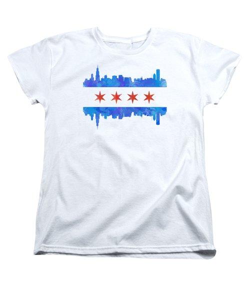 Chicago Flag Watercolor Women's T-Shirt (Standard Cut)