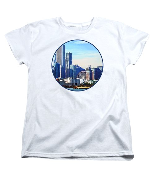 Chicago Il - Chicago Skyline And Navy Pier Women's T-Shirt (Standard Cut) by Susan Savad